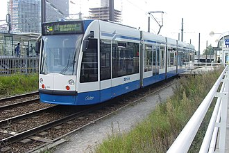 Amsterdam Zuid station - Image: GVB Combino 2202 (Amsterdam tram) on route 5, September 2007
