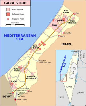 Map of Gaza Strip and Israel