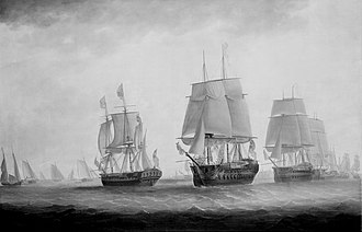HMS Southampton (1757) - George III in HMS Southampton reviewing the fleet off Plymouth, 18 August 1789