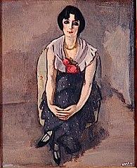 Portrait de femme aux roses rouges