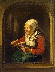 Old Woman Unreeling Threads