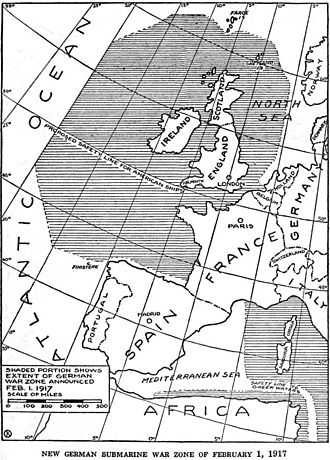 U-boat Campaign (World War I) - The shaded areas show the unrestricted submarine warfare zone announced by Germany on 1 February 1917