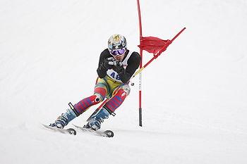 English: A Giant Slalom Alpine Ski Racer, raci...