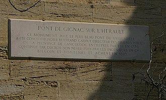 Gignac Bridge - Plaque on bridge