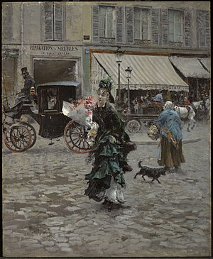 Street in Venice - Crossing the Street, by Giovanni Boldini, 1875. Oil on canvas, 46 cm × 37.5 cm, Clark Art Institute, Williamstown