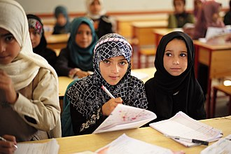Education in Yemen - Girls in school,  Sana'a, 2013