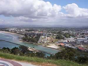 Gisborne, New Zealand - Coastal suburbs of Gisborne viewed from Kaiti Hill