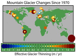 Physical impacts of climate change - A map of the change in thickness of mountain glaciers since 1970. Thinning in orange and red, thickening in blue.