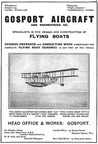 Felixstowe Fury - Advertisement featuring the Gosport G9, 7 July 1920.