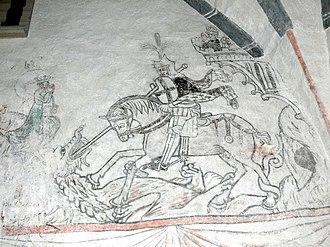 Bäl Church - Fresco depicting Saint George and the Dragon.