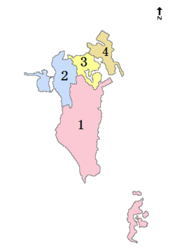 Map of Bahrain showing Northern Governorate (marked as 2)
