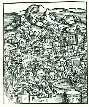 Androgeos - 16th century woodcut depicting Aeneas's ambush of Androgeos.