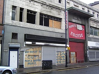 Cathedral Quarter, Belfast - North Street Arcade, with graffiti alleging that the 2004 fire was deliberate