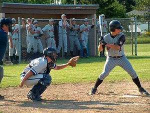 Amateur baseball in the United States - Grafton High School, Wisconsin, baseball team. Batter at the plate.