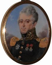 Oval painting shows a gray-haired man with a thin nose wearing a dark blue military uniform with gold epaulettes and a high collar.