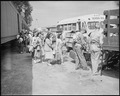 Granada Relocation Center, Amache, Colorado. Evacuees leaving the railroad train at the Granada sta . . . - NARA - 538742.tif