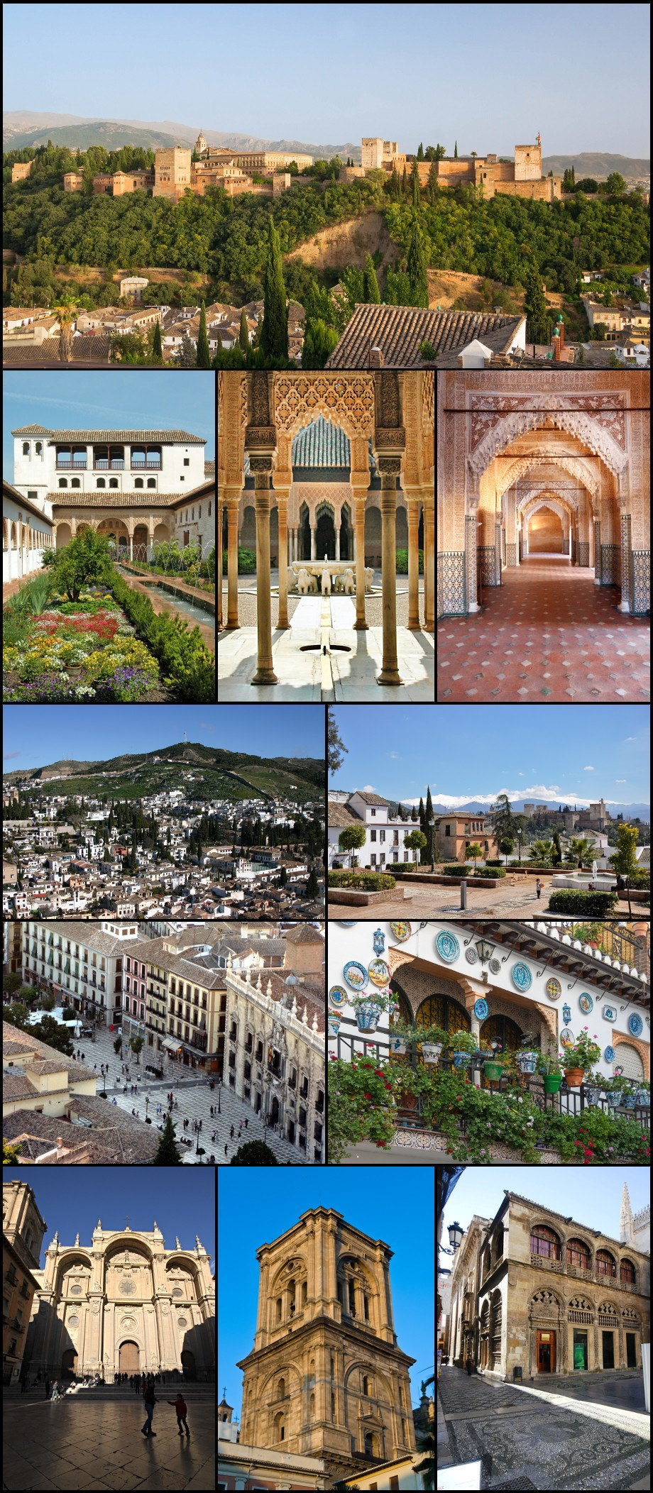 From top left: The Alhambra, Generalife, Patio de los Leones in Alhambra, Royal Hall in Alhambra, Albayzín and Sacromonte, Huerto del Carlos, in Albayzín, Plaza Nueva, house in Albayzín, façade of the cathedral, bell tower of the cathedral, Royal Chapel