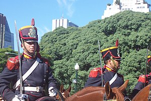 "Guard of honour - Mounted Grenadiers of ""San Martín"", for the Russian Prime Minister Mikhail Fradkov's arrival, San Martín Square, Buenos Aires."
