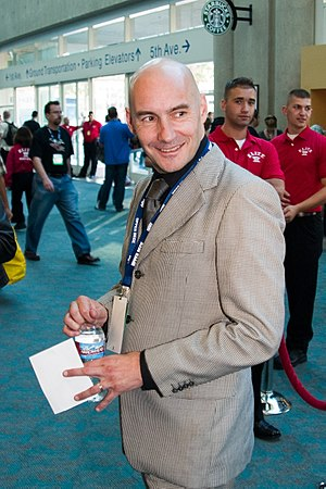 Grant Morrison - Morrison at the 2008 San Diego Comic-Con International.