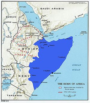 English: Greater Somalia drawn on old politica...