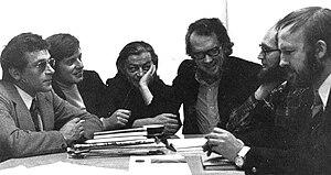 Groupe µ - Members of Groupe µ in 1970: F. Pire, J.-M. Klinkenberg, H. Trinon, J. Dubois, F. Edeline, P. Minguet (left to right).