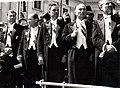 Groza cabinet ministers (Pătrășcanu, Georgescu, Gheorghiu-Dej, Rădăceanu, Voitec) at the first-ever August 23 Parade in Bucharest Palace Square, 1945. FOCR -HA218.jpg