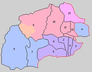 Agatsuma District, Gunma - Historic Map of Agatsuma District in 1889: 1. Nakanojō, 2. Hara, 3. Azuma, 4. Ōta, 5. Sakanoue, 6. Iwashima. 7. Nakanohara, 8. Tsumagoe, 9. Kusatsu, 10. Sawada, 11.Isuma, 12.Nakuta, 13. Kuga