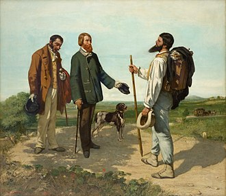 Realism (art movement) - Bonjour, Monsieur Courbet, 1854. A Realist painting by Gustave Courbet.