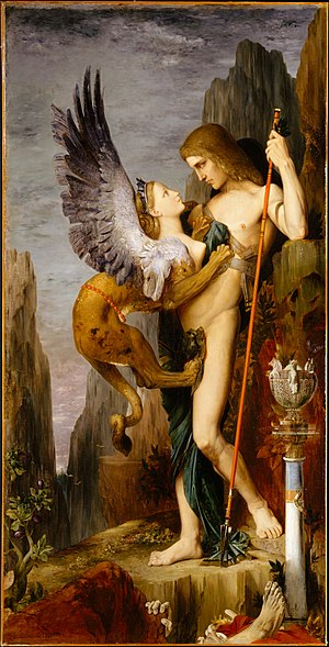 Phallic stage - Oedipus complex: Oedipus and the Sphinx, by Gustave Moreau, 1864.