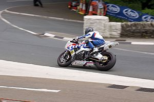 Governor's Bridge (Isle of Man) - Guy Martin on a racing line in 2015 leaving Old Bemahague Road about to enter Governor's Bridge/Governor's Dip in the 2015 Senior TT race