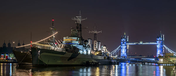 HMS Belfast and Tower Bridge before sunrise