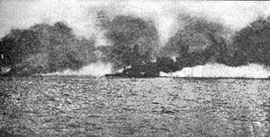 Beatty's flagship Lion burning after being hit by a salvo from Lützow