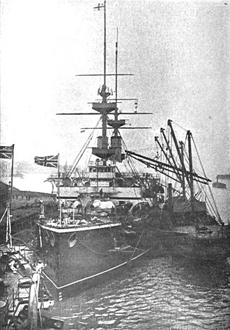 Coaling (ships) - HMS Majestic (1895) at a coaling station