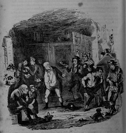Discovery of Jingle in the Fleet Hablot Knight Browne - The Pickwick Papers, Mr. Pickwick in debtor's prison.jpg