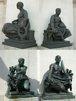 Hall of Memory, Birmingham - Bronze statues by Albert Toft