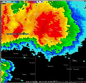 Tornado outbreak sequence of May 2004 - Radar image of the supercell that spawned the Hallam, Nebraska, tornado.