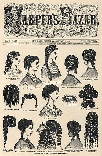 Harper's Bazaar - Cover of Volume I, No. 49 of Harper's Bazar (now Harper's Bazaar), showing hairstyles (1868)