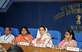 Harsimrat Kaur Badal addressing a Press Conference about announcement of new cold chain projects in the country, in New Delhi. The Minister of State for Food Processing Industries, Sadhvi Niranjan Jyoti is also seen.jpg