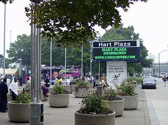 Philip A. Hart Plaza - Sign and planter benches at entrance to Hart Plaza