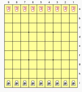 Hasami shogi - Hasami shogi (Variant 1) starting position