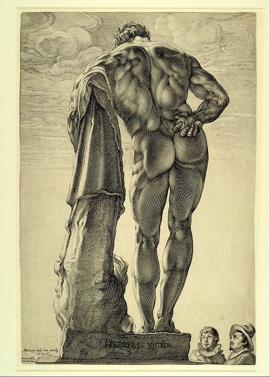 Sculpture d'Hercule de Farnese Hercules, dessin de Goltzius