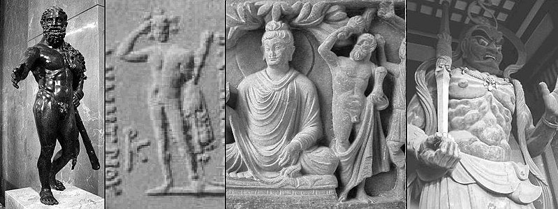 Iconographical evolution from the Greek god Herakles to the Japanese god Shukongōshin. 从左到右:<br /> 1) 赫拉克勒斯 (卢浮宫博物馆).<br /> 2) Herakles on coin of Greco-Bactrian king Demetrius I.<br /> 3) 金刚手菩萨, 佛陀的保护者, depicted as Herakles in the Greco-Buddhist art of Gandhara.<br /> 4) Shukongōshin, manifestation of Vajrapani, 作为日本佛教寺庙的保护神.