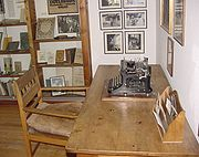 Hesse's writing desk, pictured at the Museum Gaienhofen