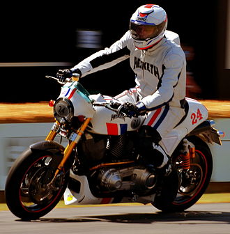 Hesketh Motorcycles - Hesketh works rider demonstrating the pre-production Hesketh 24 at Goodwood Festival of Speed 2014
