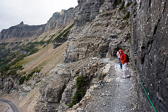 Highline Trail (Glacier National Park) - Hikers follow the Garden Wall section of the trail
