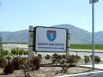 Wheeler Ridge, California - Highway directional sign in Wheeler Ridge, with Tehachapi Mountains beyond