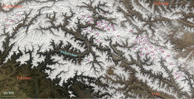 Hindu Kush and Karakoram peaks annotated (NASA satellite Terra MODIS).png