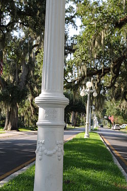 Historic lampposts lining Franklin's Main Street