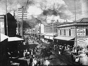 Chinatown, Honolulu - Image: Honolulu Chinatown fire of 1900