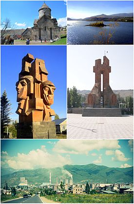 From top left: Makravank Monastery • Hrazdan reservoir Artsakh War memorial • دوسری جنگ عظیم memorial Hrazdan skyline